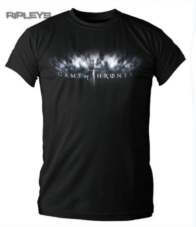 Official T Shirt GAME OF THRONES Black SWORD LOGO Stark All Sizes